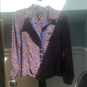 Patterned blouse with waist tie & buttons